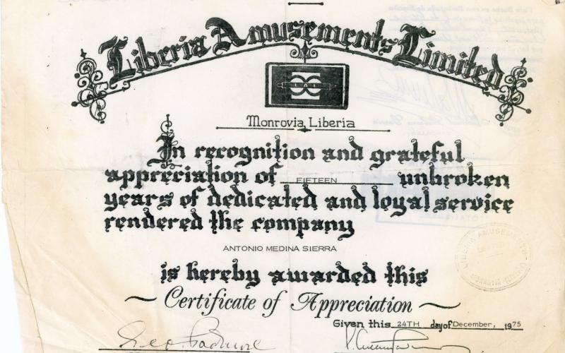 Certificado de gratitud otorgado por Liberia Amusements a Antonio Medina