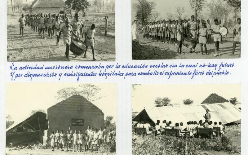 Álbum de fotos personal. Primeras escuelas construidas por la misión. Rodesia (finales de los años 50)