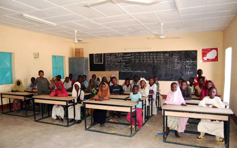 Una de las aulas del colegio de la Fundación, puesto en marcha en 2005